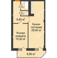 2 комнатная квартира 62,8 м², ЖК Sacco & Vanzetty, 82 (Сакко и Ванцетти, 82) - планировка