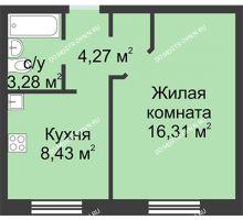 1 комнатная квартира 32,29 м² в ЖК Корабли, дом № 1