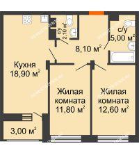 2 комнатная квартира 60 м² в ЖК Заречье, дом № 6 - планировка
