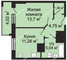 1 комнатная квартира 38,35 м², ЖК Гелиос - планировка