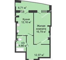 1 комнатная квартира 54,4 м² в ЖК Тихий Дон, дом № 1 - планировка
