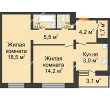 2 комнатная квартира 58,7 м², ЖК Дом на Горького - планировка