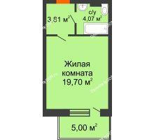 Студия 32,58 м² в ЖК Гвардейский 3.0, дом Секция 1 - планировка