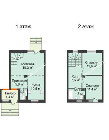 3 комнатная квартира 72,9 м² в КП Ждановский, дом № 1
