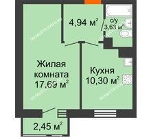 1 комнатная квартира 39,01 м² в ЖК Книги, дом № 1 - планировка