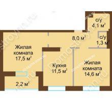 2 комнатная квартира 59,2 м² - Жилой дом: в квартале улиц Вольская-Витебская