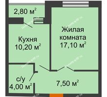 1 комнатная квартира 40,3 м² в ЖК Елецкий Лайт , дом № I-14 - планировка