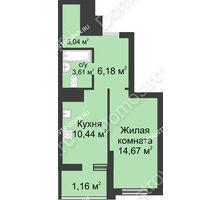 1 комнатная квартира 39,1 м² в ЖК Маленькая страна, дом № 1 - планировка