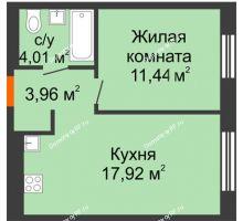 1 комнатная квартира 37,33 м² в ЖК Мозаика Парк, дом ГП-1 - планировка