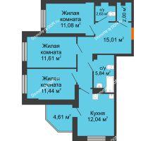 3 комнатная квартира 76,26 м² в ЖК Днепровская Роща, дом № 1 - планировка