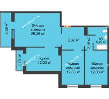 3 комнатная квартира 80,27 м² в ЖК Плодово-Ягодный, дом № 1 - планировка