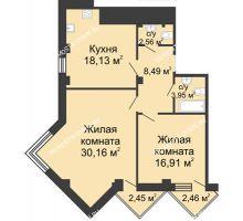 2 комнатная квартира 82,65 м², ЖК С видом на Небо! - планировка