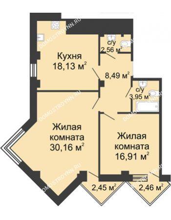 2 комнатная квартира 82,65 м² - ЖК С видом на Небо!