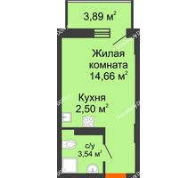 Студия 21,87 м² в ЖК Свобода, дом № 1 - планировка