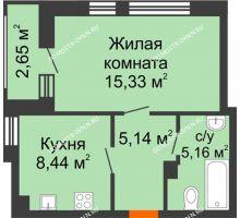 1 комнатная квартира 36,72 м² в ЖК Книги, дом № 1 - планировка