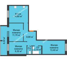 3 комнатная квартира 66,1 м² в ЖК Удачный 2, дом № 1 - планировка