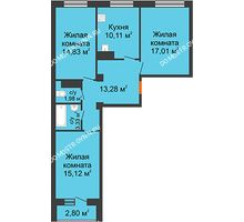 3 комнатная квартира 78,86 м² в ЖК Облака, дом № 2 - планировка