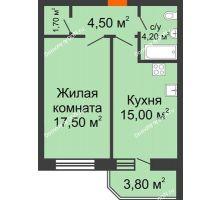 1 комнатная квартира 44,8 м² в ЖК Звездный, дом № 6 - планировка