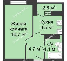 1 комнатная квартира 32 м² в ЖК ЮГ, дом № 20