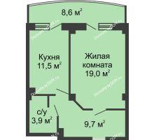 1 комнатная квартира 48,4 м² в ЖК Новый Город, дом № 2 - планировка