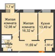 2 комнатная квартира 62,29 м² в ЖК Новоостровский, дом № 2 корпус 1 - планировка