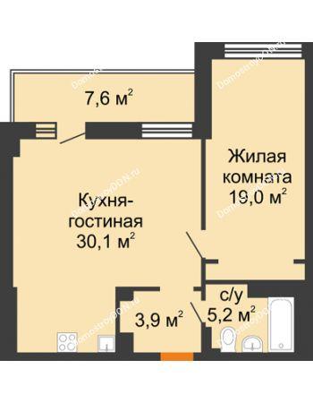 2 комнатная квартира 62 м² - ЖК Дом на 17-й Линии, 3
