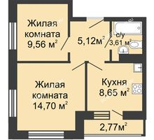 2 комнатная квартира 20 м² в ЖК Зеленый берег, дом Дом 13 корпус 1 - планировка