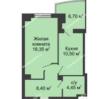 1 комнатная квартира 45,05 м² в ЖК Новый Город, дом № 3 - планировка