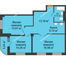 3 комнатная квартира 64,74 м², ЖК Марксистский - планировка