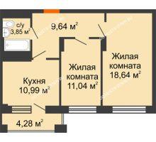 2 комнатная квартира 60,7 м², ЖД Весна - планировка