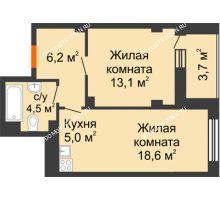 2 комнатная квартира 44,6 м² в ЖК Тихая Гавань на Якорной, дом № 1