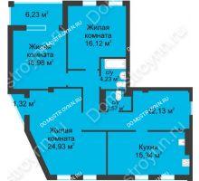 3 комнатная квартира 106,08 м² в ЖК Воскресенская слобода, дом №1 - планировка