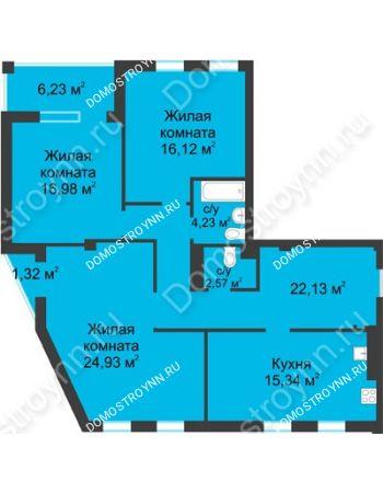 3 комнатная квартира 106,08 м² в ЖК Воскресенская слобода, дом №1
