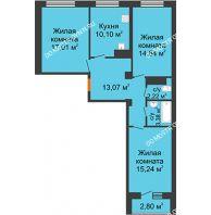 3 комнатная квартира 78,37 м² в ЖК Облака, дом № 2 - планировка