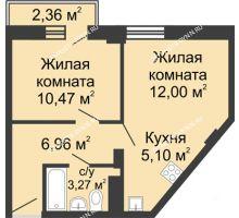 2 комнатная квартира 38,5 м² - ЖК Каскад на Волжской