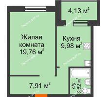 1 комнатная квартира 45,4 м² в ЖК Троицкий, дом Корпус 1 - планировка