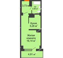Студия 33,6 м² в ЖК Северный Остров, дом № 6 - планировка