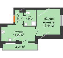 1 комнатная квартира 36,86 м², ЖК Марксистский - планировка