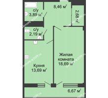 1 комнатная квартира 51,7 м² в  ЖК РИИЖТский Уют, дом Секция 1-2 - планировка