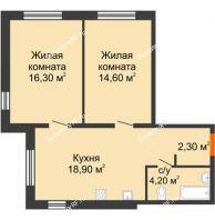 2 комнатная квартира 56,3 м² в ЖК Куйбышев, дом № 3 - планировка