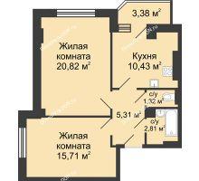2 комнатная квартира 58,08 м² в ЖК Сердце Ростова, дом Этап II