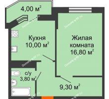 1 комнатная квартира 41,9 м² в ЖК Любимый дом, дом Литер 2 - планировка
