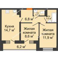 2 комнатная квартира 50,6 м² в ЖК Парк Победы, дом Литер 4 - планировка