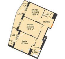 2 комнатная квартира 88,7 м² в ЖК Маршал Град, дом № 3 - планировка