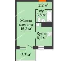 1 комнатная квартира 28,1 м² в ЖК Серебряный, дом Квартал 1, дом №3 - планировка