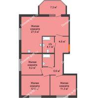 4 комнатная квартира 81,4 м² в ЖК Живём, дом квартал 10, дом № 1 - планировка