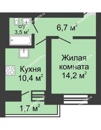 1 комнатная квартира 36,5 м² в ЖК Династия, дом Литер 1