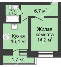 1 комнатная квартира 36,5 м² в ЖК Династия, дом Литер 1 - планировка