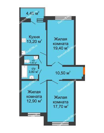3 комнатная квартира 81,7 м² в ЖК Династия, дом Литер 2
