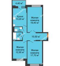 3 комнатная квартира 81,7 м² в ЖК Династия, дом Литер 2 - планировка